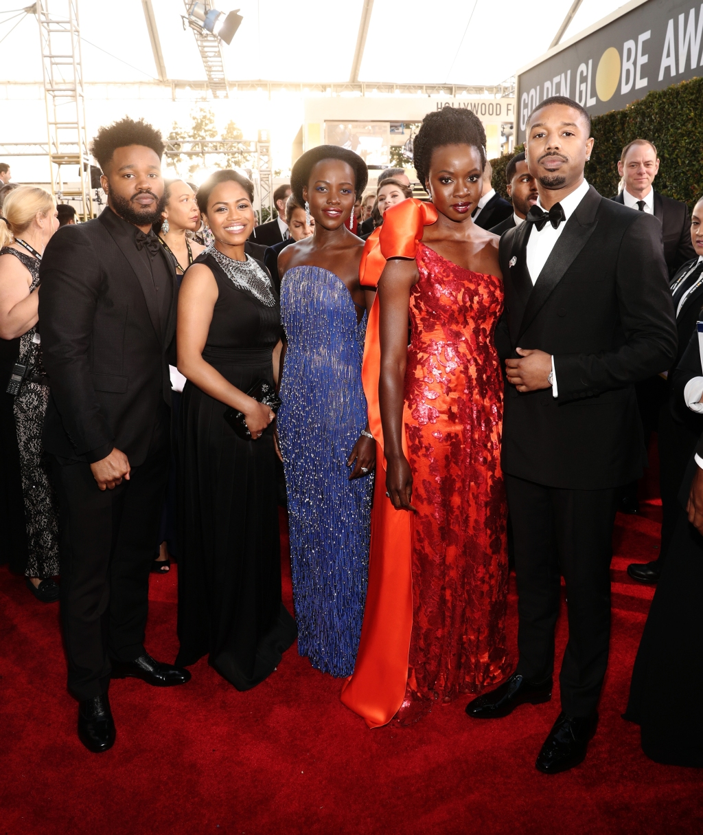 (From Left) Ryan Coogler, Zinzi Evans, Lupita Nyong'o, Danai Gurira, and Michael B. Jordan arrive to the 76th Annual Golden Globe Awards held at the Beverly Hilton Hotel on January 6, 2019.
