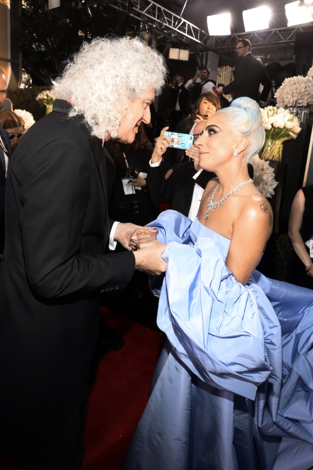 Brian May and Lady Gaga arrive to the 76th Annual Golden Globe Awards held at the Beverly Hilton Hotel on January 6, 2019.
