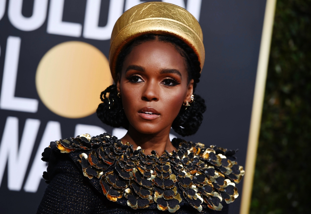 Janelle Monae arrives at the 76th annual Golden Globe Awards at the Beverly Hilton Hotel.