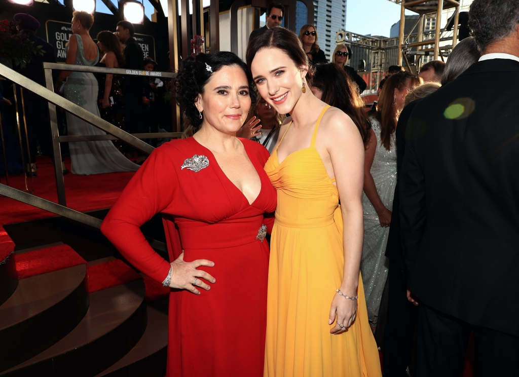 Alex Borstein and Rachel Brosnahan arrive to the 76th Annual Golden Globe Awards held at the Beverly Hilton Hotel on January 6, 2019.