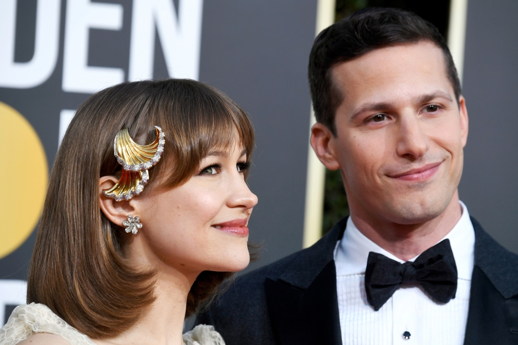 Joanna Newsom (left) and host Andy Samberg attend the 76th Annual Golden Globe Awards at The Beverly Hilton Hotel on January 6, 2019 in Beverly Hills, California.