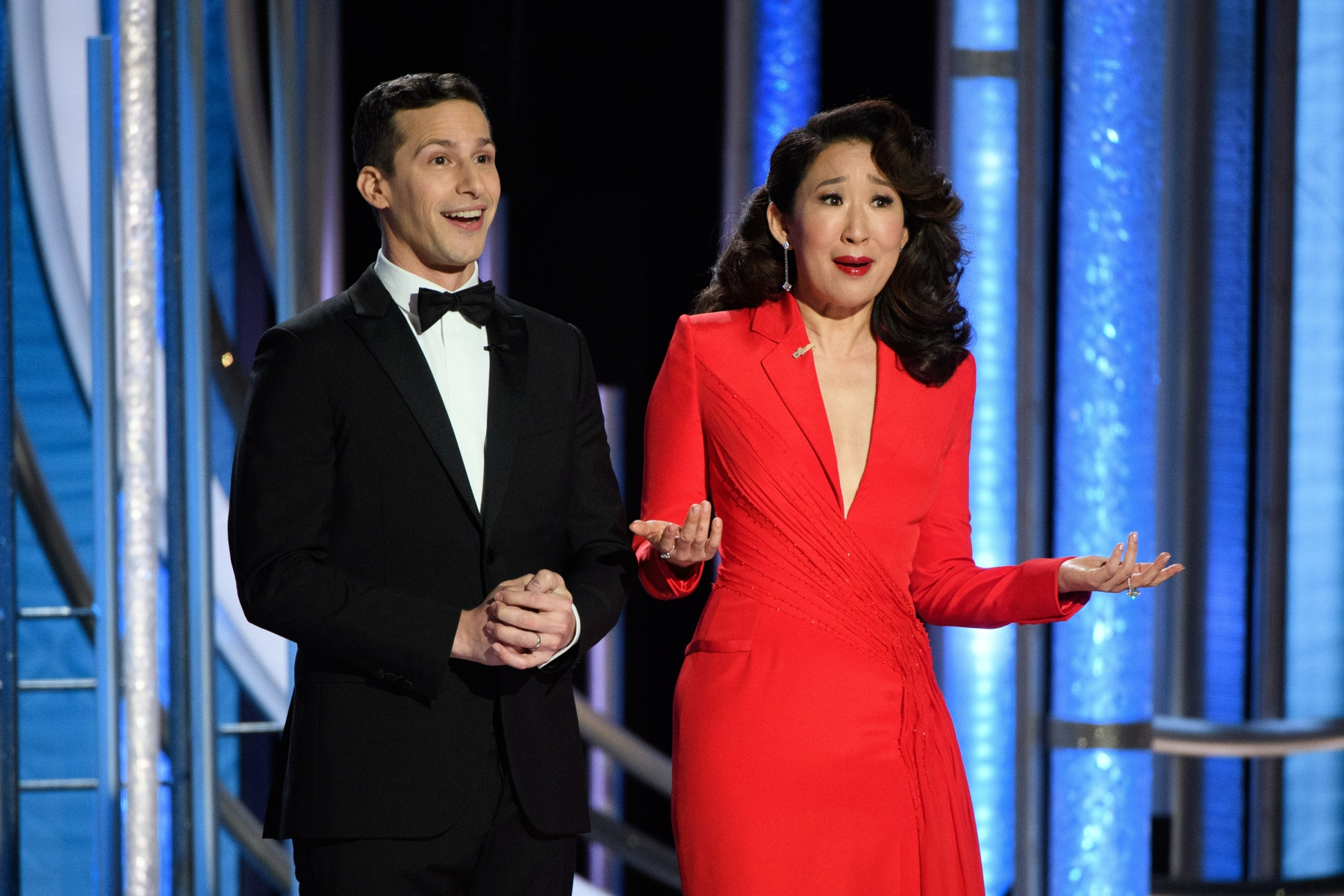 Andy Samberg and Sandra Oh host the 76th Annual Golden Globe Awards at the Beverly Hilton in Beverly Hills, CA on Sunday, January 6, 2019.