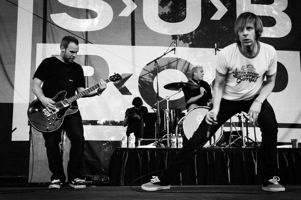 Jeff Ament, Alex Shumway and Mark Arm perform during the Sub Pop 20th Anniversary show in 2008. Photo credit: Shawn Brackbill