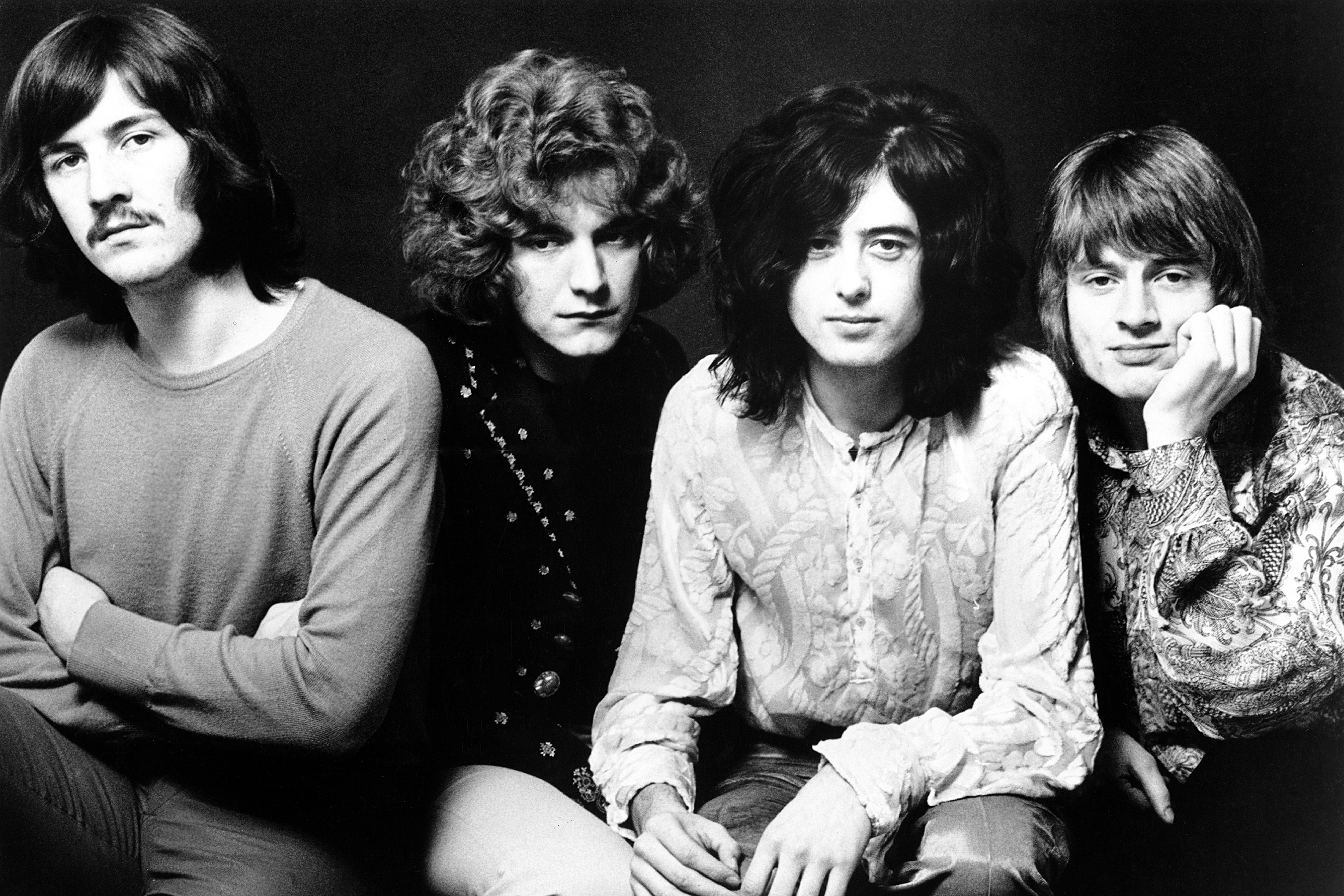 ENGLAND - 1969: Rock band 'Led Zeppelin' poses for a publicity portrait in 1969 in England. (L-R) John Bonham, Robert Plant, Jimmy Page, John Paul Jones. (Photo by Michael Ochs Archives/Getty Images)