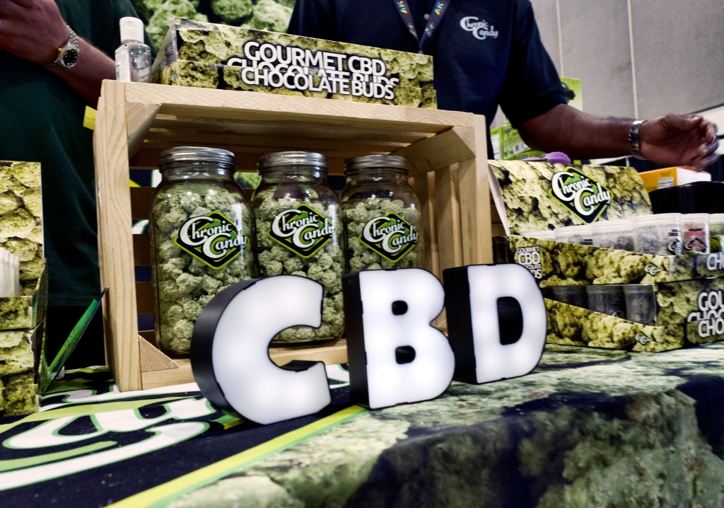 CBD buds of chocolate by Chronic Candy are displayed at the Big Industry Show at the Los Angeles Convention Center. The show displayed some of the industry's leading smoke, vape, cannabis and grow products in a business-to-business setting in downtown Los AngelesCalifornia Marijuana, Los Angeles, USA - 31 Aug 2018
