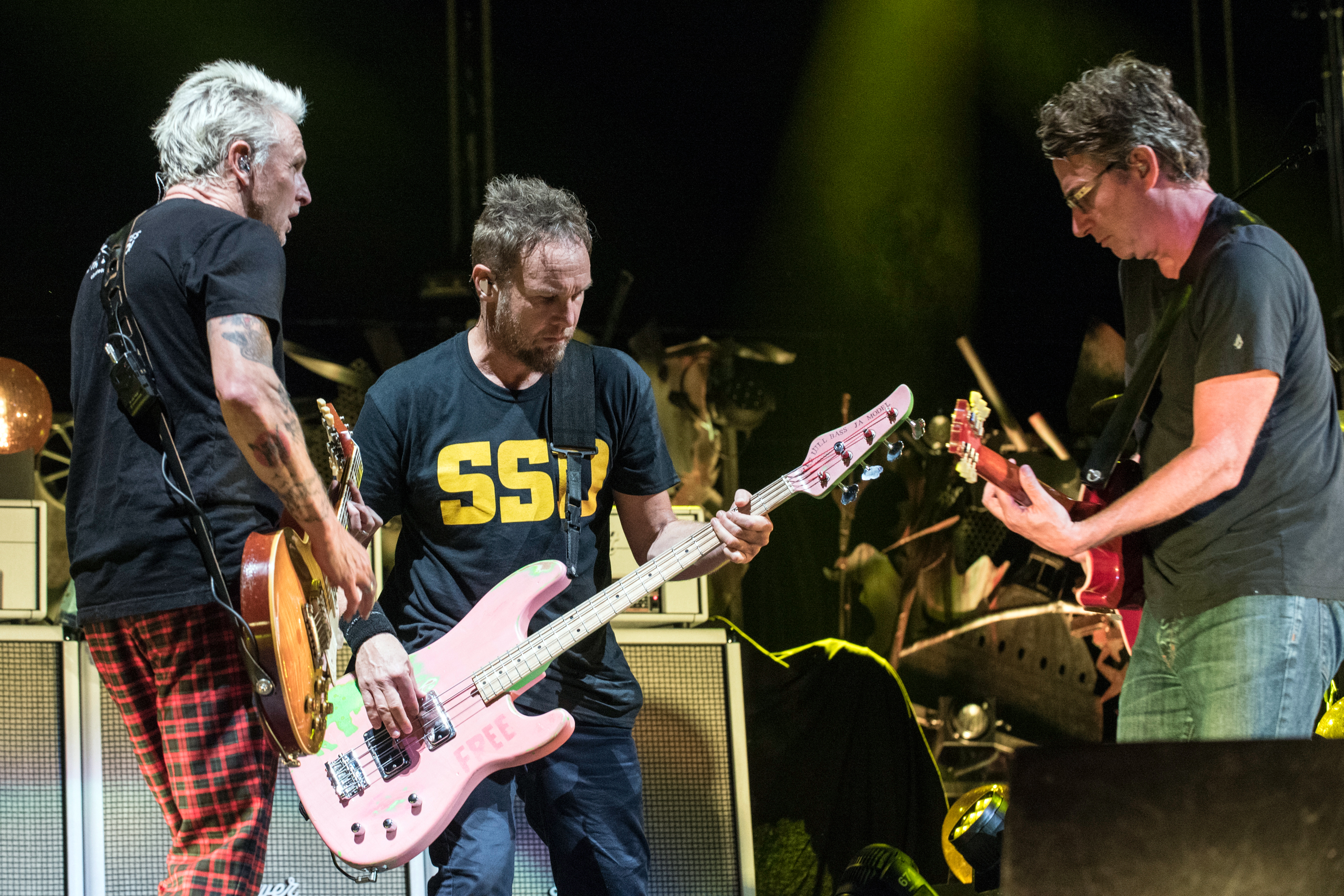 BOSTON MA - SEPTEMBER 2  Lead guitarist Mike McCready L bassist Jeff Ament and guitarist Stone Gossard of Pearl Jam perform live on stage at Fenway Park on September 2 2018 in Boston Massachusetts  Photo by Jim BennettGetty Images