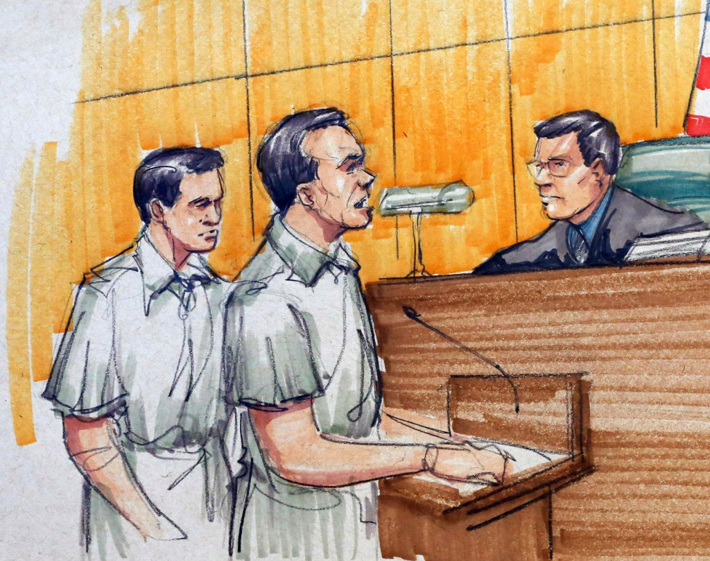 "Pedro Flores, Margarito Flores, Ruben Castillo In this courtroom sketch, from left, twin brothers Pedro and Margarito Flores, 33, of Chicago, appear before Chief U.S. District Judge Ruben Castillo at federal court in Chicago, . Castillo sentenced the brothers to 14 years in prison each for running a nearly $2 billion North American drug ring, agreeing with prosecutors to drastically reduce their sentences as reward for their cooperation against Joaquin ""El Chapo"" Guzman and other Mexican cartel leadersTwin Drug Informants, Chicago, USA"