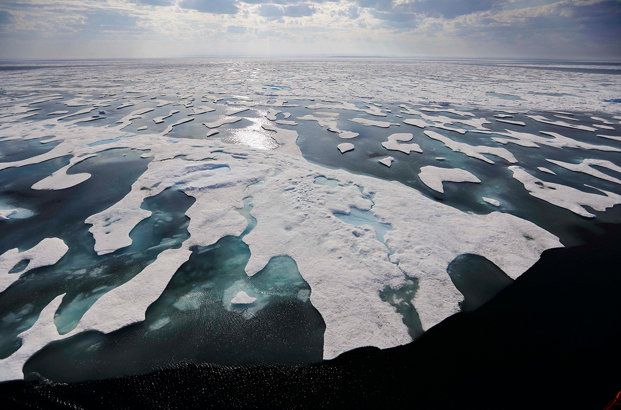 Sea ice melts on the Franklin Strait along the Northwest Passage in the Canadian Arctic Archipelago, . Because of climate change, more sea ice is being lost each summer than is being replenished in winters. Less sea ice coverage also means that less sunlight will be reflected off the surface of the ocean in a process known as the albedo effect. The oceans will absorb more heat, further fueling global warmingNew Arctic The Journey Melting Ice - 22 Jul 2017