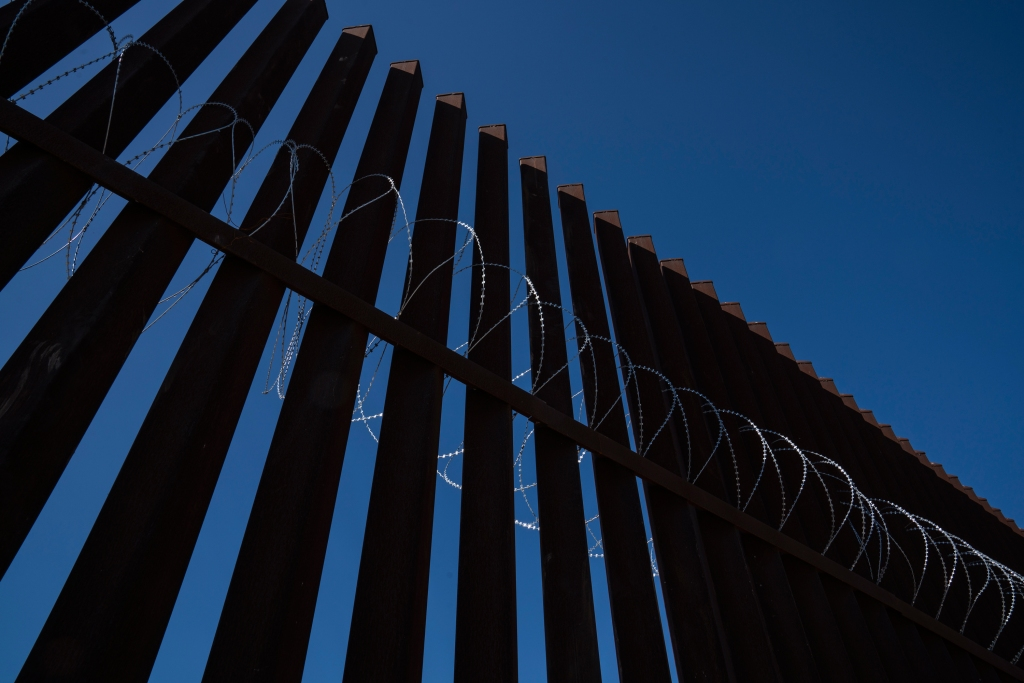 Border fence in Hidalgo, Tex. on Dec. 10, 2018. Concertina wire was recently installed in anticipation of the migrant caravan approaching the U.S.-Mexico border.Verónica G. Cárdenas for Rolling Stone