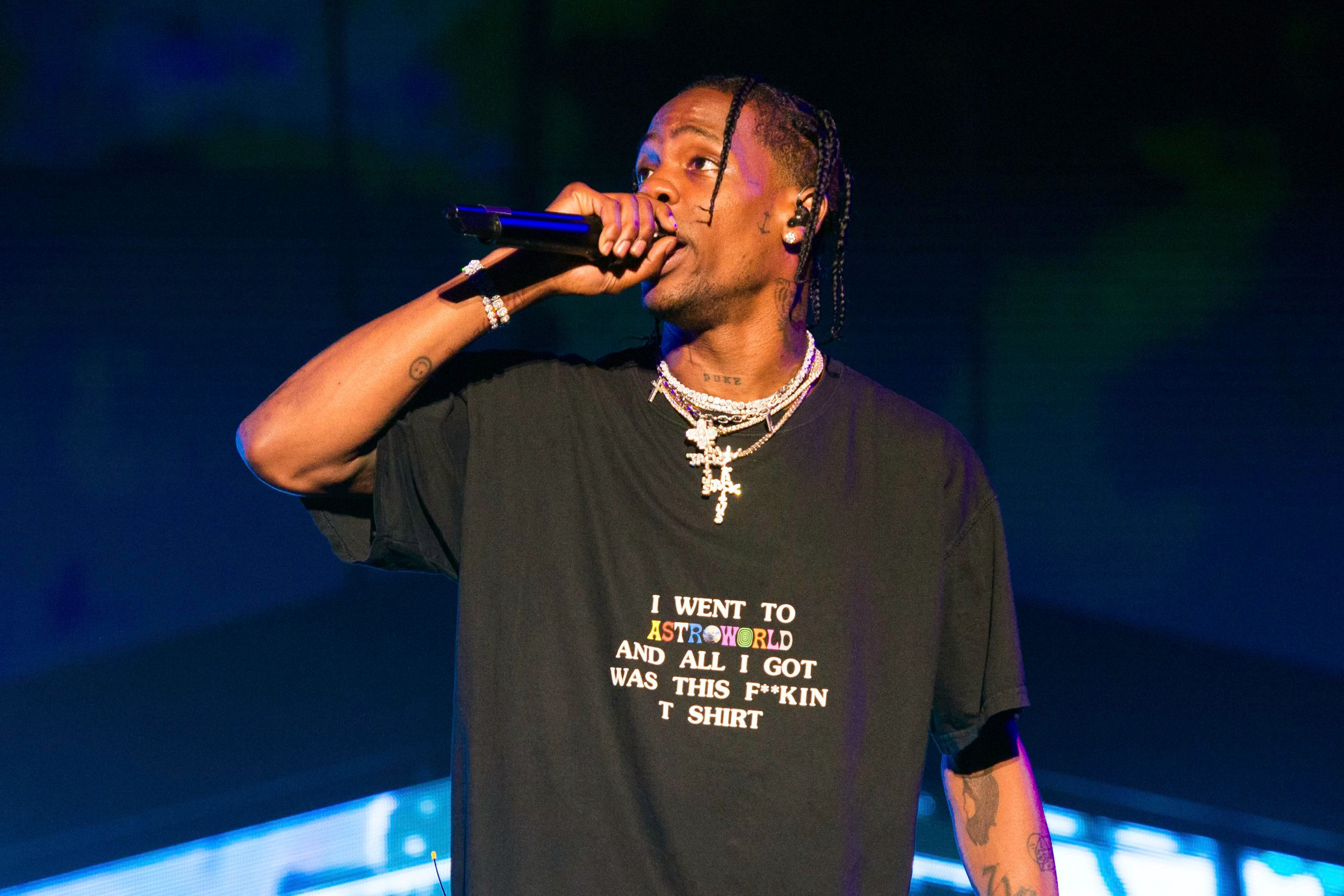 f814d46d3 Rapper Travis Scott performs at The Governors Ball Music Festival at  Randall's Island Park on in