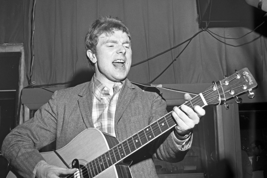 NEW YORK - MARCH 28: Musician Van Morrison plays a Martin acoustic guitar at a Bang Records recording session in the studio on March 28, 1967 in New York, New York. (Photo by PoPsie Randolph/Michael Ochs Archives/Getty Images)