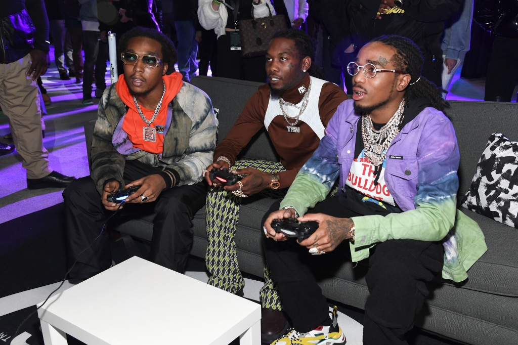 Takeoff, Offset, and Quavo of Migos attend Bud Light Super Bowl Music Fest / EA SPORTS BOWL at State Farm Arena on January 31, 2019 in Atlanta, Georgia.
