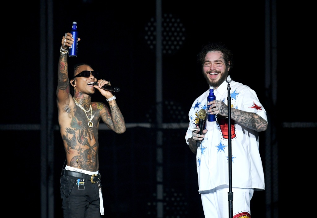 Swae Lee and Post Malone perform onstage during Day 2 of Bud Light Super Bowl Music Fest at State Farm Arena on February 1, 2019 in Atlanta, Georgia.
