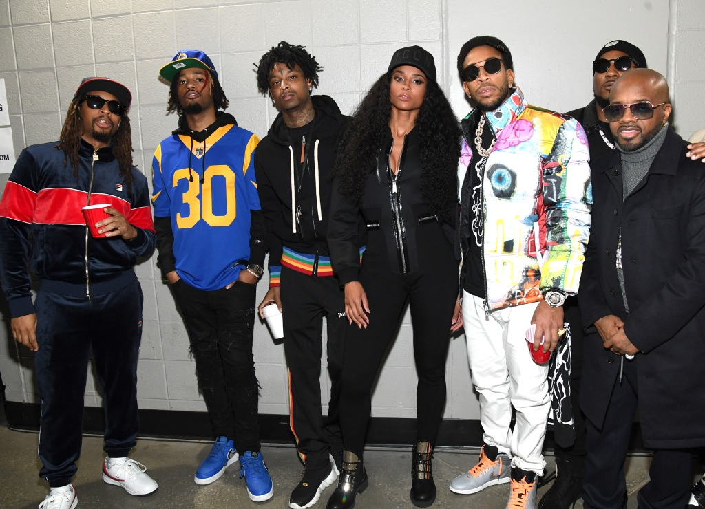 Lil Jon, Metro Boomin, 21 Savage, Ciara, Ludacris, Young Jeezy, and Jermaine Dupri pose backstage during Bud Light Super Bowl Music Fest / EA SPORTS BOWL at State Farm Arena on January 31, 2019 in Atlanta, Georgia.