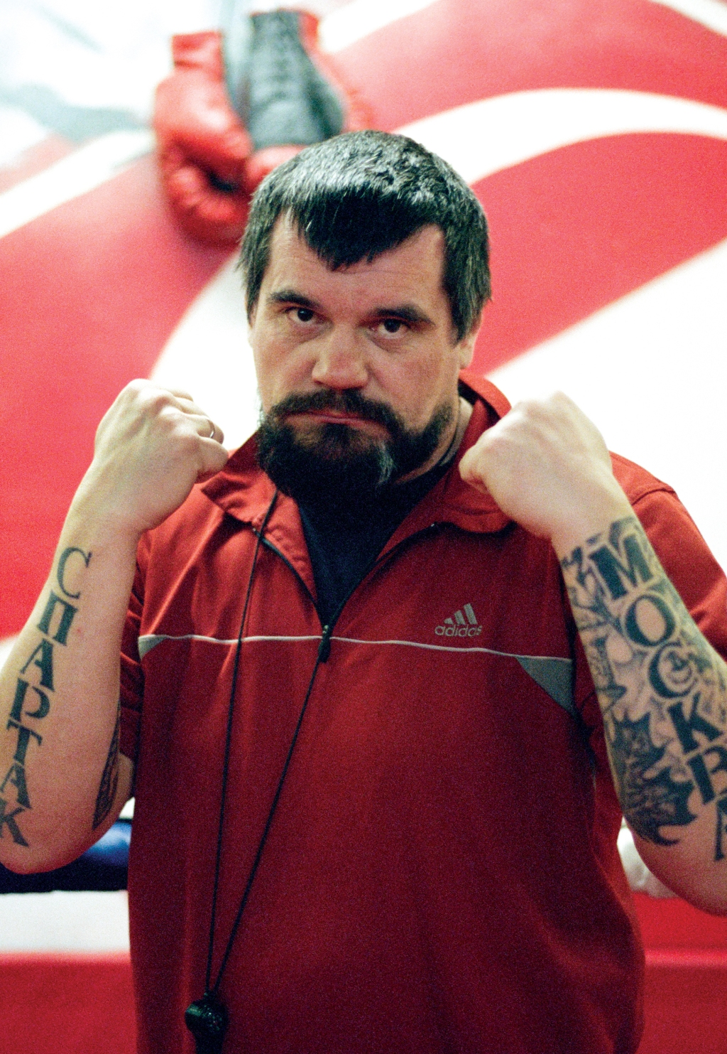 """It says Spartak on his arm,"" says Boogie, referring to the football club. ""That's a boxing coach from one of the boxing gyms."""