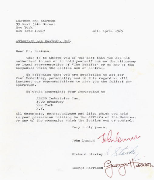 LONDON - MAY 5: Lot 298, a letter from 3 of the Beatles (John Lennon, George Harrison and Ringo Starr), dated 18 April 1969 to Lee Eastman showing evidence of one of the major catalysts behind the disbanding of The Beatles is seen ahead of todays Pop Memorabilia auction held at Christie's South Kensington on May 5, 2005 in London. The sale of 315 lots includes this letter documenting the break-up of The Beatles from 1969 - expected to reach GBR40,000-60,000 - , Lennon's black T-shirt bearing the letters Imagine, and other items relating to The Who, Brian Wilson, The Rolling Stones and Eric Clapton. (Photo by Christies via Getty Images)
