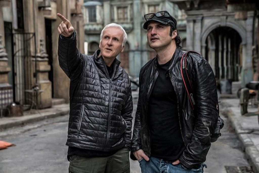 Producer James Cameron and Director Robert Rodriguez on the set of ALITA: BATTLE ANGEL.Addtl. Info Photo Credit: Rico Torres