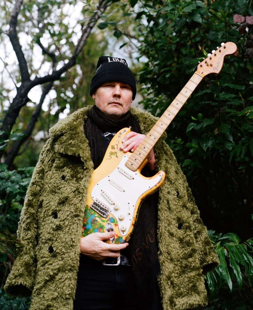 Billy Corgan with his thought to be long-lost guitar. Photograph by Dan Prakopcyk for RollingStone.com