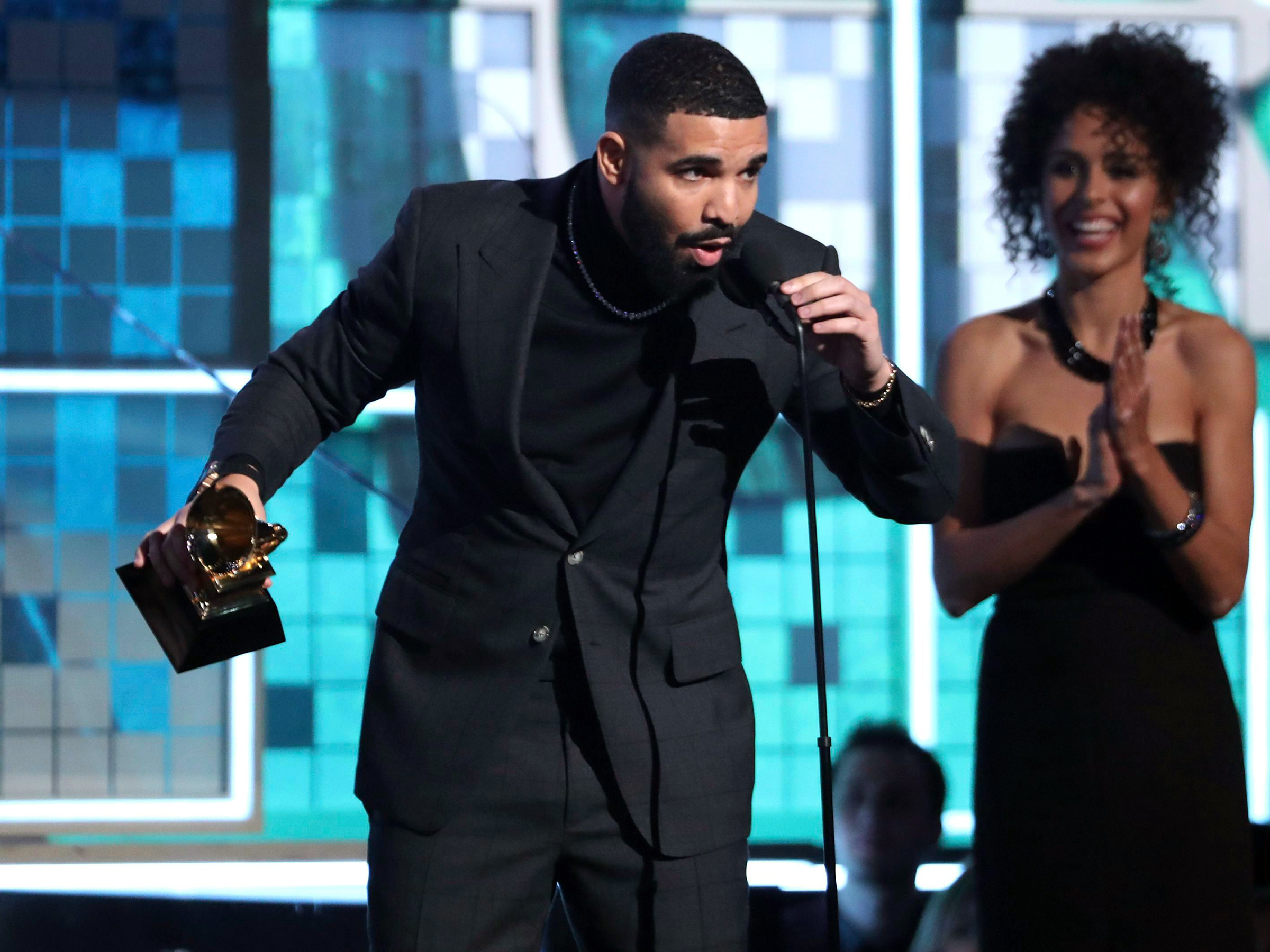 "Drake accepts the award for best rap song for ""God's Plan"" at the 61st annual Grammy Awards, in Los Angeles61st Annual Grammy Awards - Show, Los Angeles, USA - 10 Feb 2019"