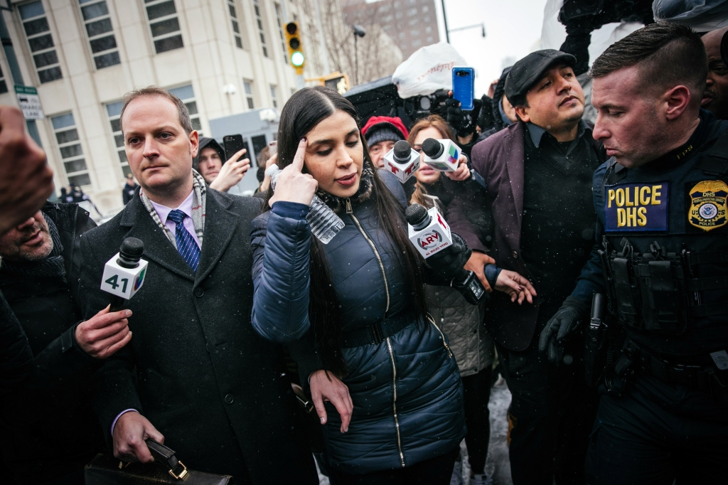 Emma Coronel Aispuro (C) leaves the building after a verdict was reached in the trial of her husband Joaquin 'El Chapo' Guzman at United States Federal Court in Brooklyn, New York, USA, 12 February 2019. Guzman was found guilty on multiple charges of money laundering, directing murders and kidnappings while he allegedly ran a drug cartel.El Chapo trial in Brooklyn, New York, USA - 12 Feb 2019