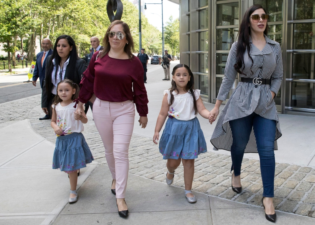 "Emma Coronel, right, wife of Mexican drug lord Joaquin ""El Chapo"" Guzman leaves federal court in the Brooklyn borough of New York with her daughters, . The upcoming trial of Guzman could get moved from Brooklyn to ManhattanEl Chapo Prosecution, New York, USA - 26 Jun 2018"