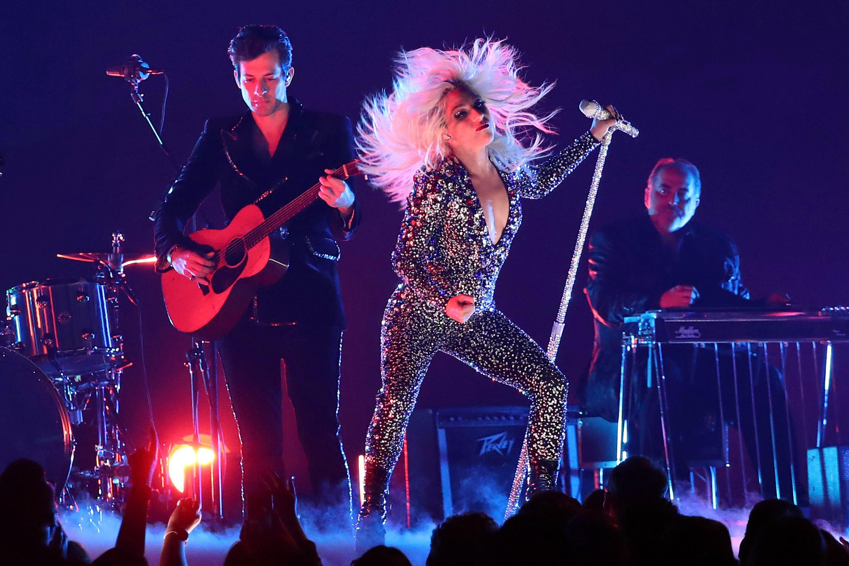 "Lady Gaga, Mark Ronson. Lady Gaga, right, and Mark Ronson perform ""Shallow"" at the 61st annual Grammy Awards, in Los Angeles61st Annual Grammy Awards - Show, Los Angeles, USA - 10 Feb 2019"