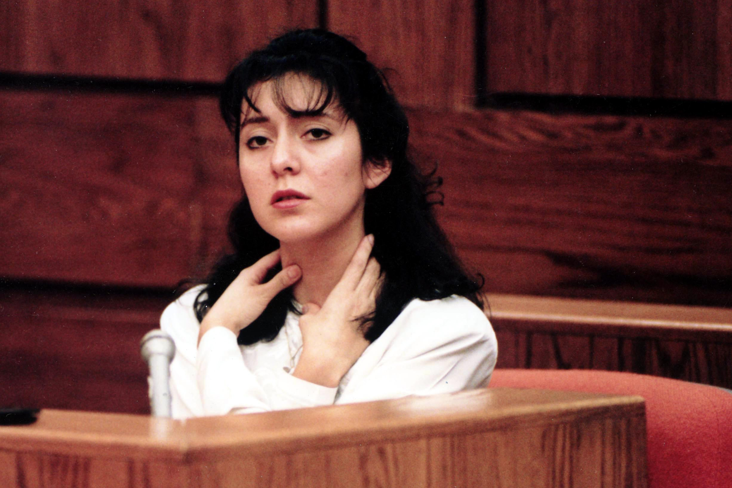 At her January 1994 trial for malicious assault, Lorena Bobbitt describes  how her husband would