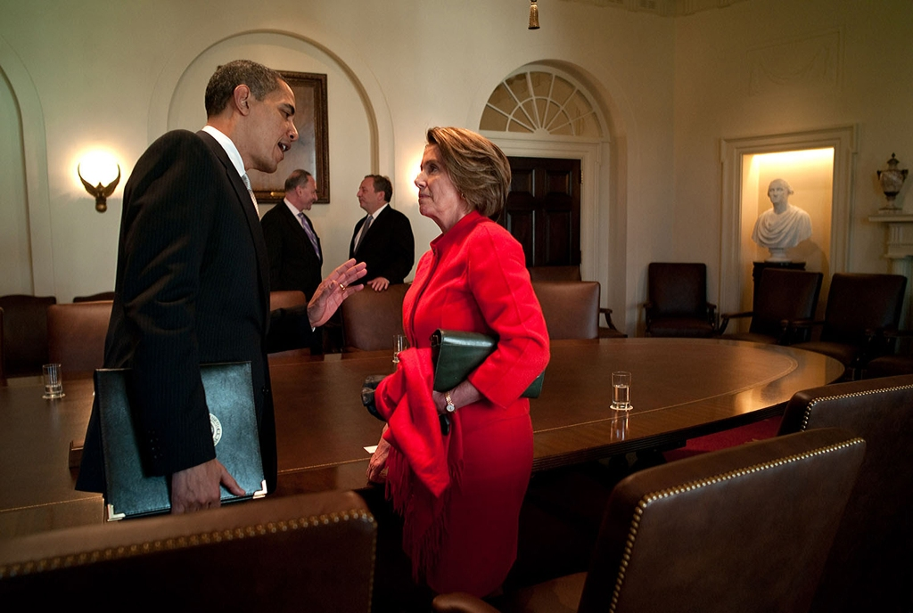 "Feb. 25, 2009""The President has a private conversation with House Speaker Nancy Pelosi following his meeting in the Cabinet Room with the Democratic Congressional leaders."" (Official White House photo by Pete Souza) This official White House photograph is being made available only for publication by news organizations and/or for personal use printing by the subject(s) of the photograph. The photograph may not be manipulated in any way and may not be used in commercial or political materials, advertisements, emails, products, promotions that in any way suggests approval or endorsement of the President, the First Family, or the White House."