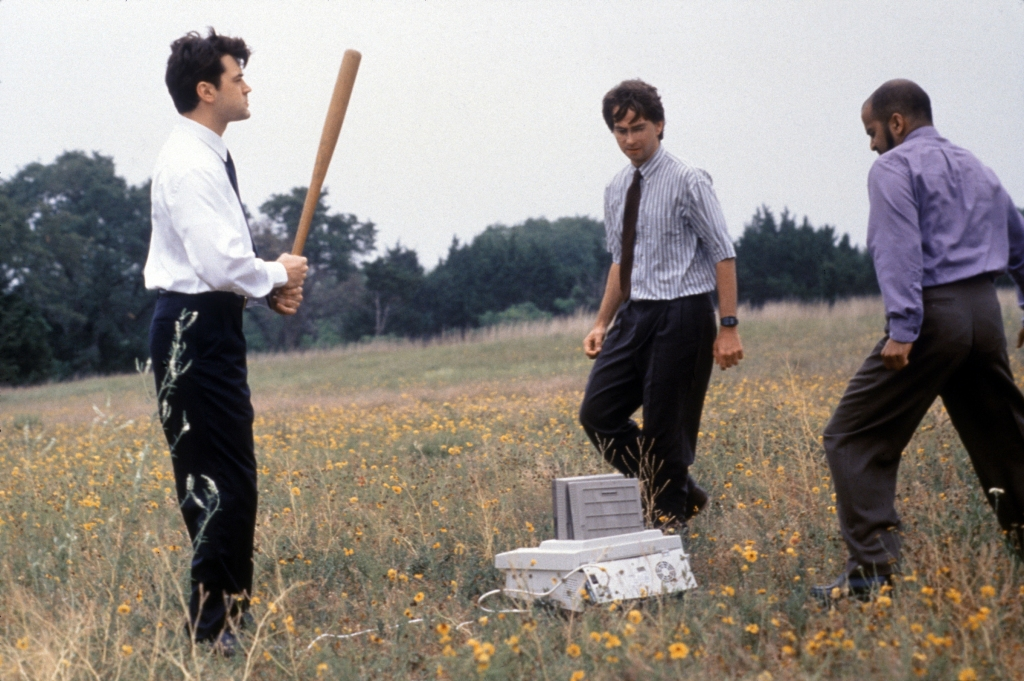 Editorial use only. No book cover usage.Mandatory Credit: Photo by Alan Pappe/20th Century Fox/Kobal/REX/Shutterstock (5881652c) Ron Livingson, David Herman, Ajay Naidu Office Space - 1999 Director: Mike Judge 20th Century Fox USA Scene Still Comedy
