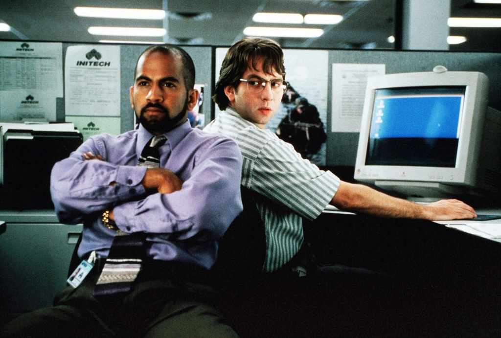 Editorial use only. No book cover usage.Mandatory Credit: Photo by Van Redin/20th Century Fox/Kobal/REX/Shutterstock (5881652l) Ajay Naidu, David Herman Office Space - 1999 Director: Mike Judge 20th Century Fox USA Scene Still Comedy