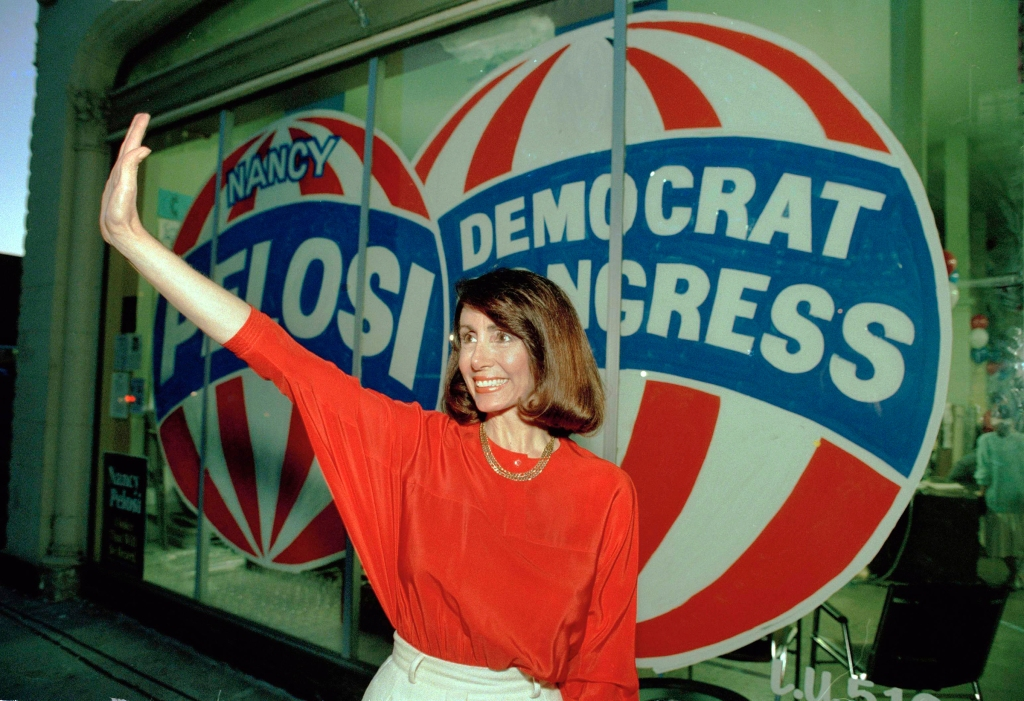 Watchf Associated Press Domestic News California United States APHS52124 EARLY LEAD Congressional candidate Nancy Pelosi, D-Calif., waves at the Headquarters in San Francisco Tuesday night . Pelosi held a slight edge over San Francisco city Supervisor Harry Britt, for the seat of the late Rep.Sala Burton, according to early election resultsEARLY LEAD, SAN FRANCISCO, USA