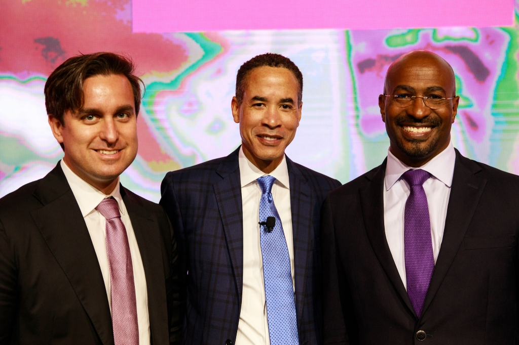 Corey Tollefson, Infor Executive and lifelong Prince fan, Charles Phillips, Infor CEO and Van Jones, CEO of Dream Corps and co-founder of #YESWECODE.