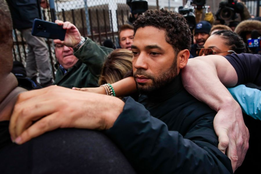 'Empire' TV series actor Jussie Smollett emerges from the Cook County Court complex after posting 10 percent of a 100,000 USD bond in Chicago, Illinois, USA, 21 February 2019. Smollett was charged with felony disorderly conduct for allegedly filing a false police report claiming he was attacked with bleach and a rope was placed around his neck in an incident that has drawn national attention. If convicted Smollett faces up to three years in prison.Jussie Smollett charged with felony disorderly conduct, Chicago, USA - 21 Feb 2019