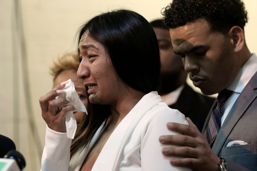 Salena Manni, the fiancee of Stephon Clark, who was shot and killed by Sacramento police in 2018, cries as she discusses the decision to not file charges against the two officers involved, during a news conference in Sacramento, Calif., . on march 2nd 2019
