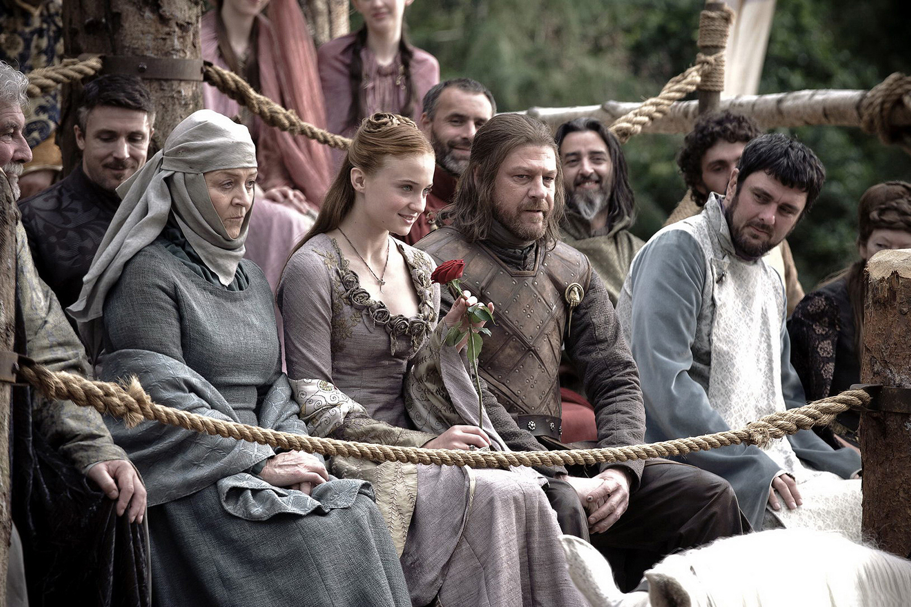 Game of Thrones (HBO) TV Series Season 1, 2011Shown from left, in center: Susan Brown, Sophie Turner, Sean Bean