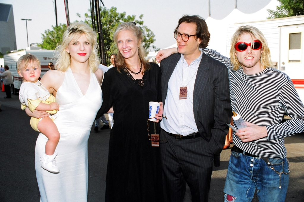Courtney Love, Frances Bean Cobain, Danny Goldberg and wife and Kurt Cobain of Nirvana (Photo by Jeff Kravitz/FilmMagic)