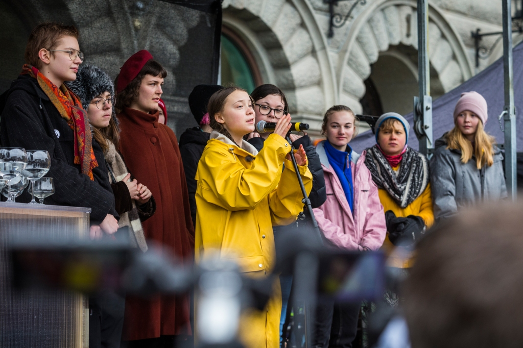 STOCKHOLM, SWEDEN: Greta Thunberg participates in a strike outside of the Swedish parliament house, Riksdagen, in order to raise awareness for global climate change.