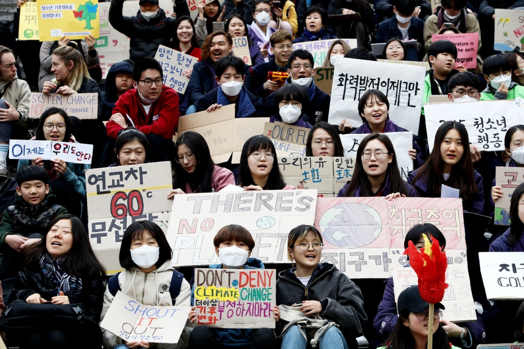 SEOUL, SOUTH KOREA: South Korean students, some in medical masks, participated in a Global Climate Strike rally.