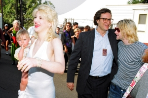 Courtney Love, Frances Bean Cobain, Danny Goldberg and Kurt Cobain of Nirvana (Photo by Jeff Kravitz/FilmMagic)