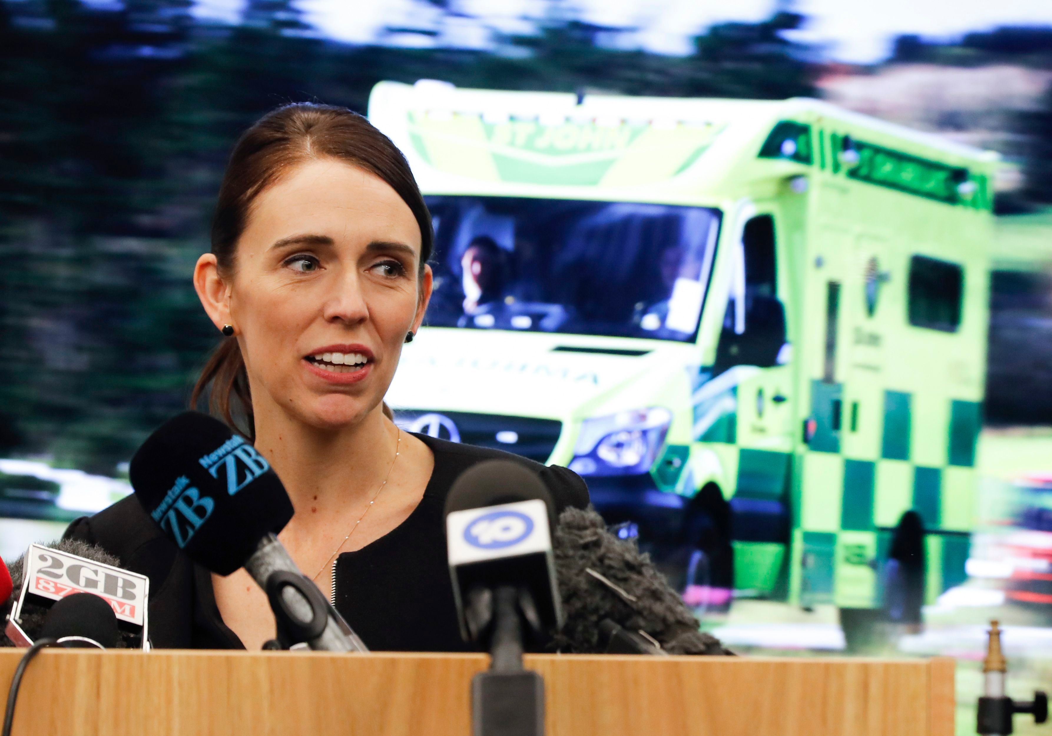 New Zealand's Prime Minister Jacinda Ardern speaks during an event to meet the first responder in the March 15 mosque shooting, in Christchurch, New ZealandMosque Shooting, Christchurch, New Zealand - 20 Mar 2019