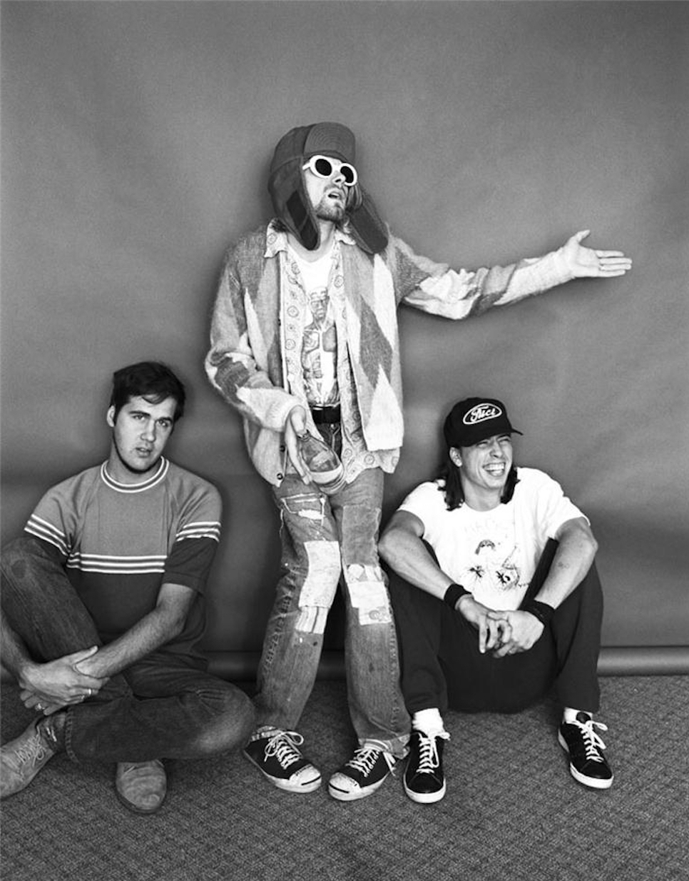 """Bassist Krist Novoselic, Cobain and drummer Dave Grohl at the Omni Hotel. """"They had a nice energy together,"""" Frohman says. """"They liked to laugh. They didn't really care what they looked like and how they presented themselves."""""""