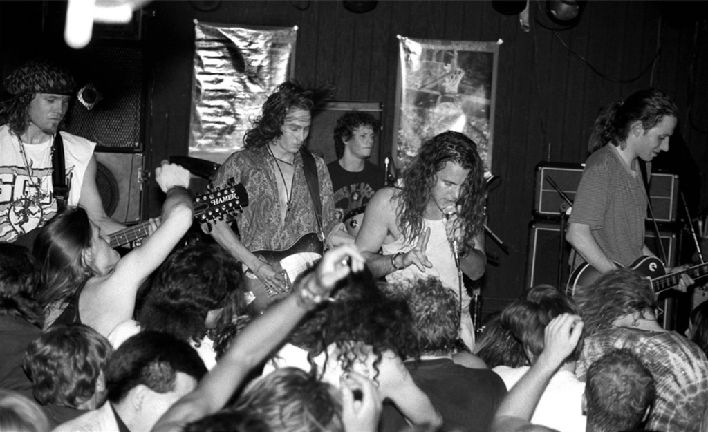 """Pearl Jam performing as Mookie Blaylock at the Off Ramp in Seattle in 1991. """"A lot of bands would play there,"""" says photographer Lance Mercer. """"I was one of the few people running around with a camera."""""""