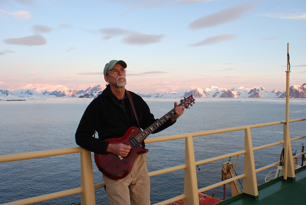 Caption: Electronics tech Barry Bjork on the deck of the Nathaniel B. Palmer in Antarctica Credit: Bastien Queste