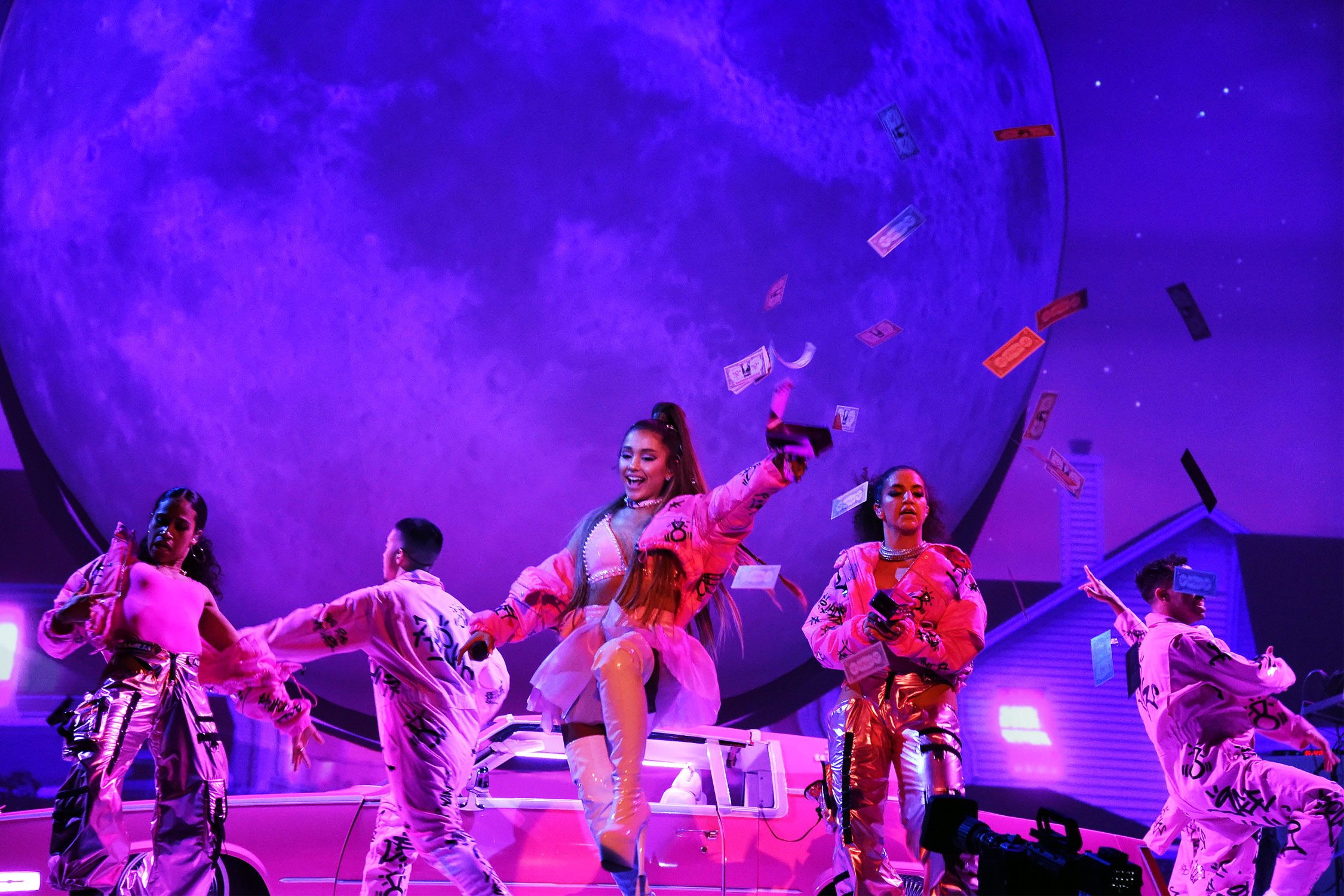 Ariana Grande performs onstage during the Sweetener World Tour , Opening  Night at Times Union Center