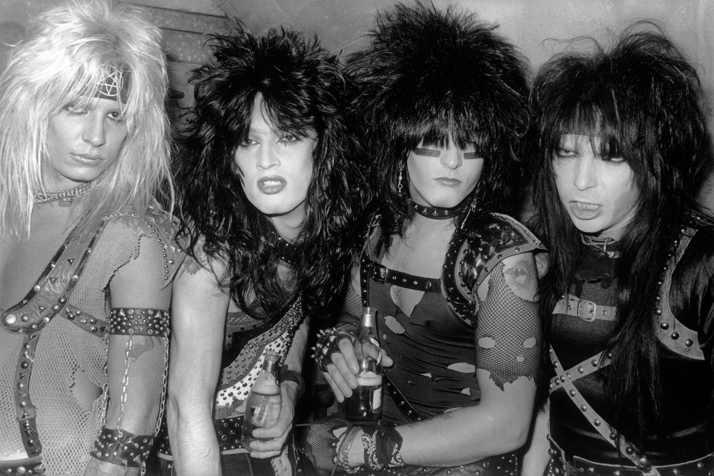 L-R: Vince Neil (singer), Tommy Lee (drums), Nikki Sixx (bass), and Mick Mars (guitar). (Photo by Gary Leonard/Corbis via Getty Images)