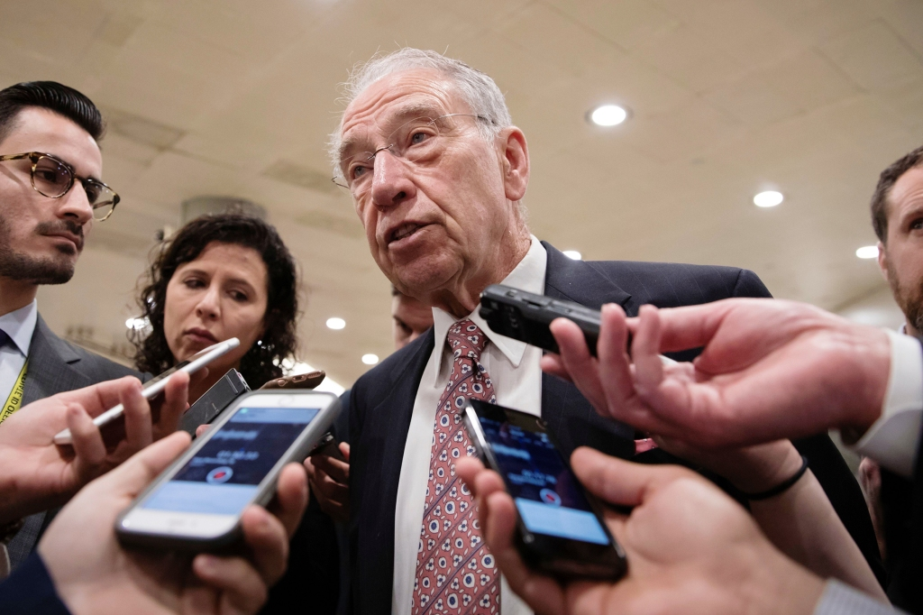 With the deadline looming to pass a spending bill to fund the government by week's end, Senate Judiciary Committee Chairman Chuck Grassley, R-Iowa, and other senators gather for weekly strategy meetings on Capitol Hill in WashingtonCongress Budget Battle, Washington, USA - 05 Dec 2017