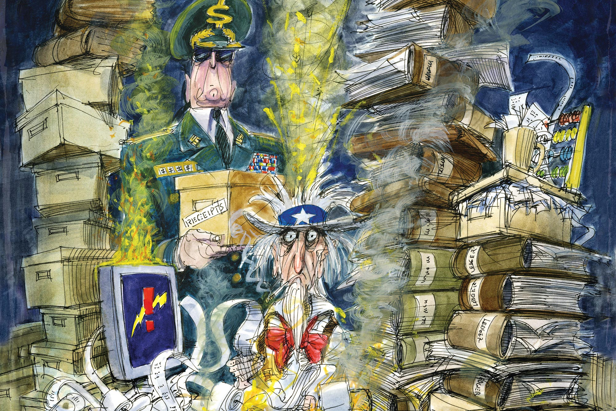 The Pentagon's Bottomless Money Pit - llustration by Victor Juhasz for Rolling Stone