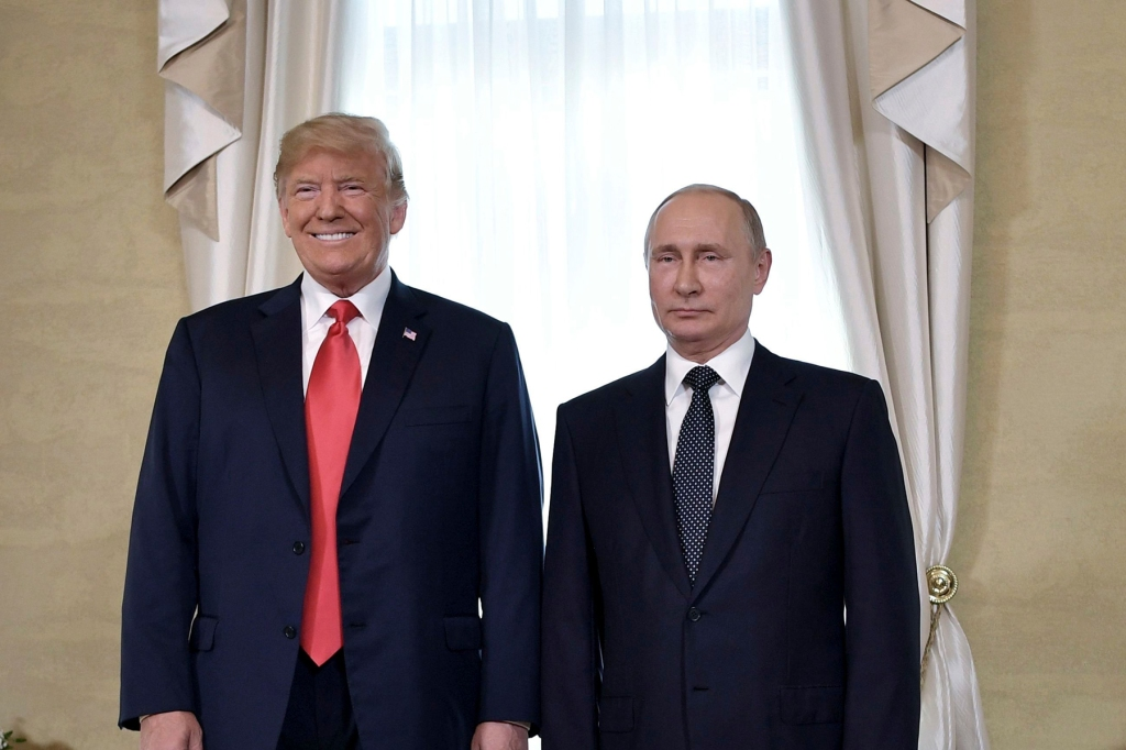 Russian President Putin and US President Trump meet in Helsinki. U.S. President Donald Trump and Russian President Vladimir Putin, right, pose for a photograph at the Presidential Palace in Helsinki, Finland, prior to Trump's and Putin's one-on-one meeting in the Finnish capitalTrump Putin Summit, Helsinki, Finland - 16 Jul 2018