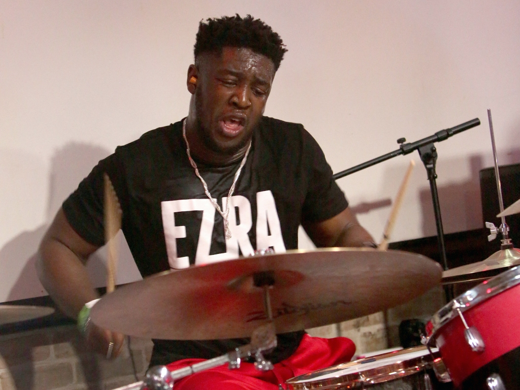 AUSTIN, TX - MARCH 12: Femi Koleoso of Ezra Collective performs onstage at ATC during the 2019 SXSW Conference and Festivals at Latitude 30 on March 12, 2019 in Austin, Texas. (Photo by Travis P Ball/Getty Images for SXSW)