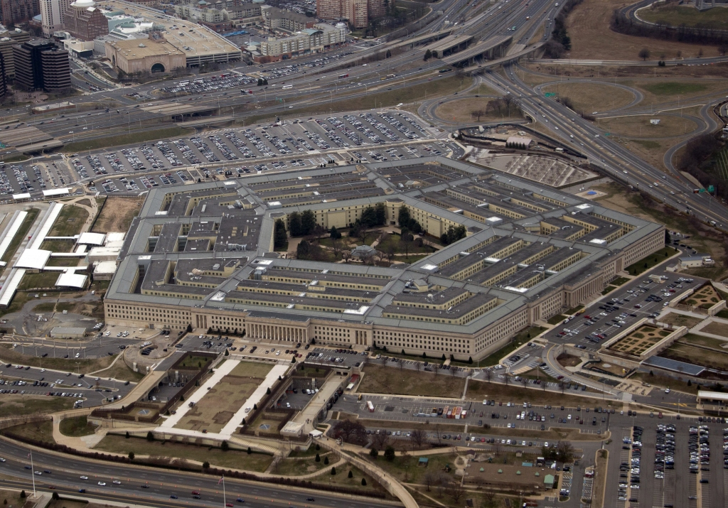 Aerial View of the Pentagon from a commercial airliner taking-off from Reagan National Airport outside Washington, DC.Aerial Views of the Pentagon, Washington DC, USA - 17 Feb 2017